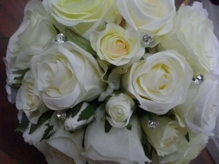 fabric spring roses with bling