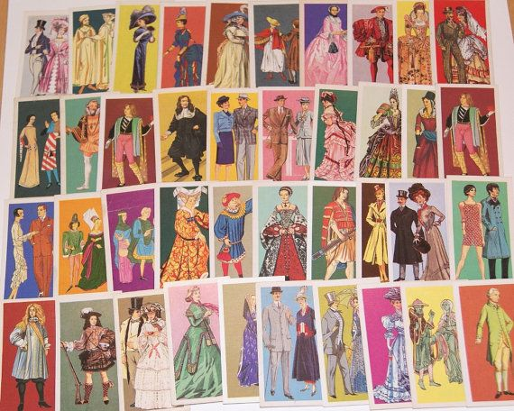 Lot of 40 vintage Costume Tea Cards Brooke Bond for scrapbooking collage altered art crafts by scrapitsideways, $6.00