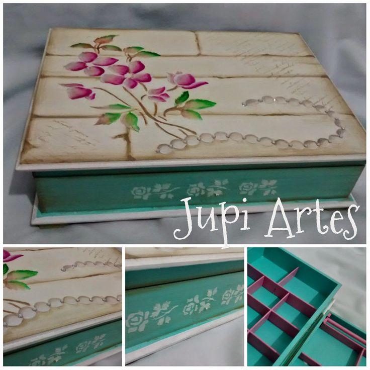 Jupi Artes: Porta Jóias Grande, com divisões, porta anéis e ba...