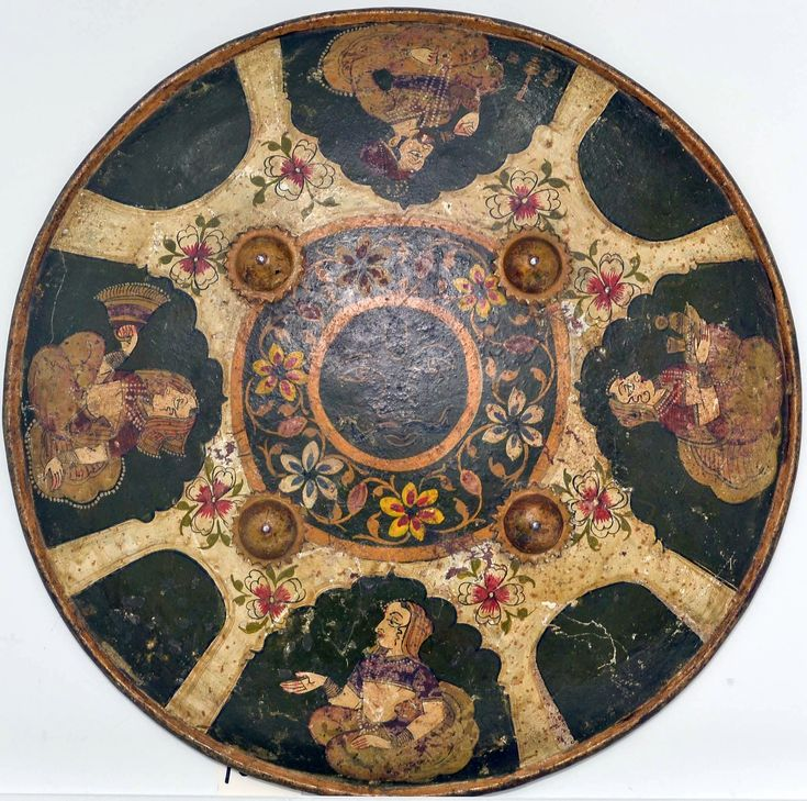 Indian shield (dhál), 18th to early 19th century, Bundi, Rājasthān, iron, polychromy, textile, leather, Diam. 13 in. (33 cm), Met Museum.