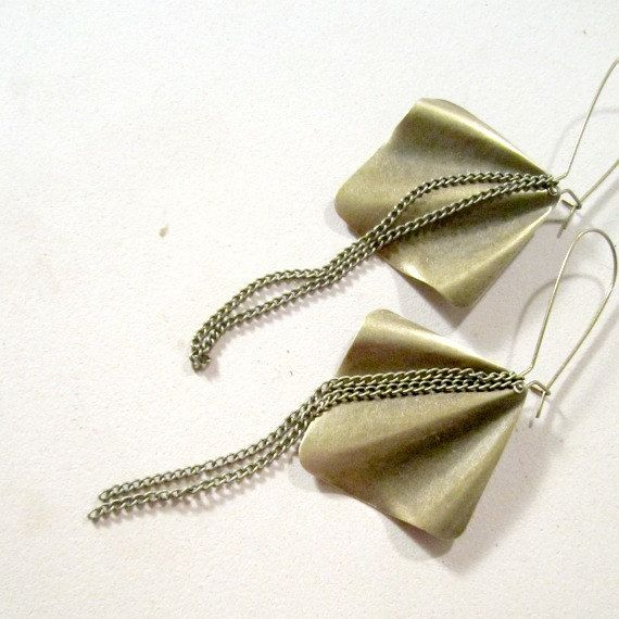 Antique Brass Earrings Brass Jewelry Chain by jewelrybycarmal, $16.00