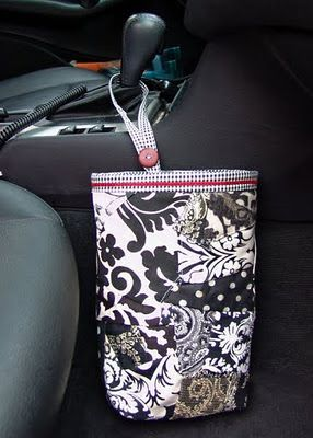 A Ditchin' Time Quilts: Tutorial for my car trash bags - this is a great tutorial....... uses the plastic bags, but they are hidden inside the cloth bag.