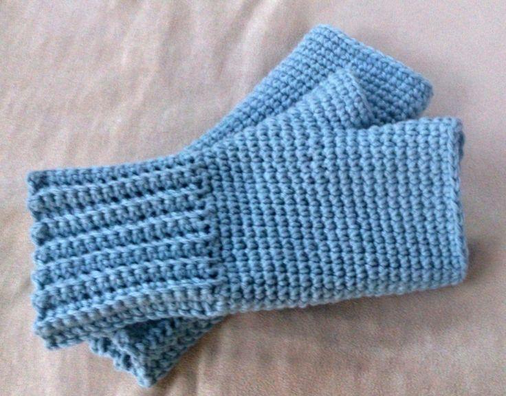 Bezprstové rukavice světle modré