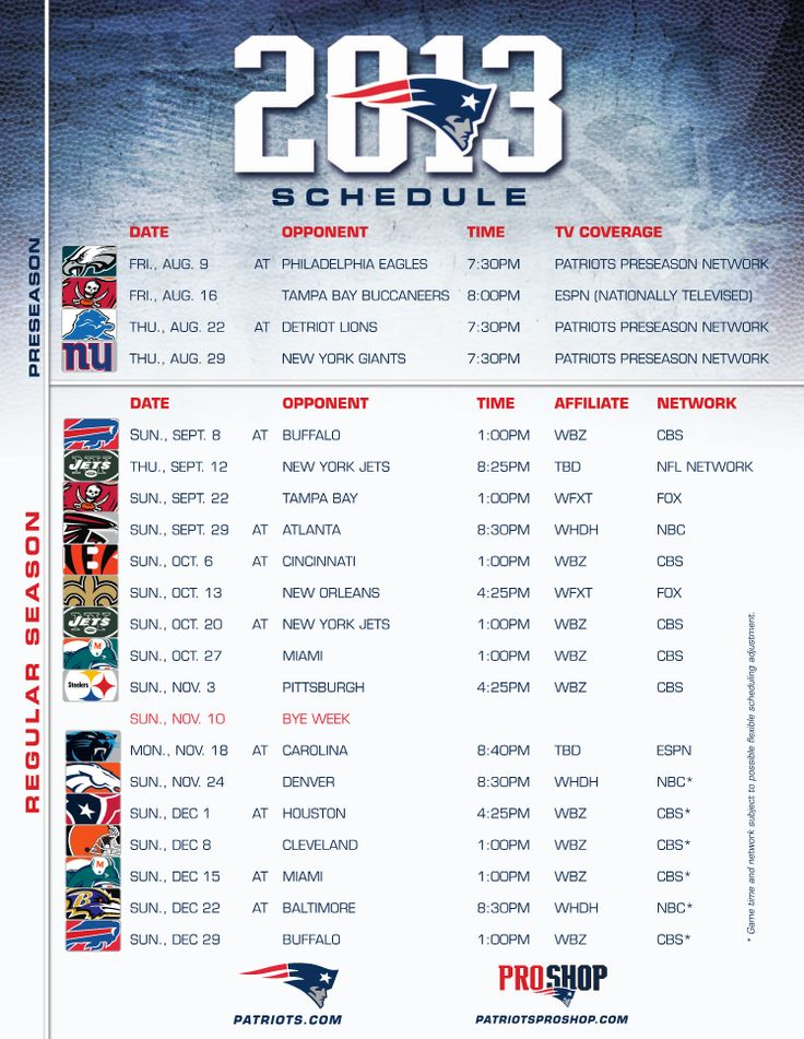 patriots schedule 2013 | GTCsportz: New England Patriots 2013 Schedule