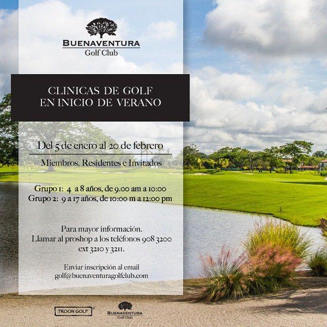 """@buenaventuragc's photo: """"Clínica de Golf en inicio de verano  Del 5 de enero al 20 de febrero Miembros, Residentes e Invitados  Grupo 1: 4 a 8 años, de 9.00 am a 10:00 Grupo 2: 9 a 17 años, de 10:00 m a 12:00 pm  Para mayor información:  Llamar al proshop a los teléfonos 908 3200 ext 3210 y 3211.  Enviar inscripción al email golf@buenaventuragolfclub.com  #BuenaventuraGolfClub #Panamá #NicklausDesign #golfcourse #golf #instaoftheday #club @buenaventuraresort @troongolf @gopropty"""""""