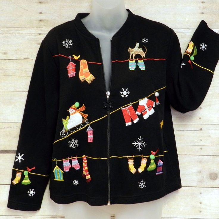 ONQUE Womans Petite Medium Button Zip Up Christmas/Holiday Ugly Sweater #Onque #Cardigan