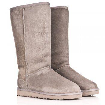 UGG® Australia Authorised Retailer UGG® Grey Classic Tall Womens Flat Knee Boot
