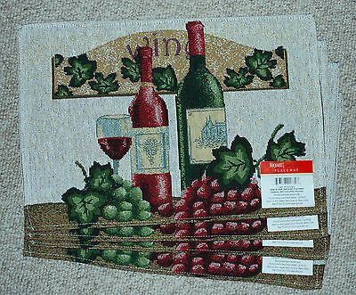 SET OF 4  TAPESTRY CREAM PLACEMATS/ WINE BOTTLES/ GRAPES/VINEYARD/TUSCANY NWT