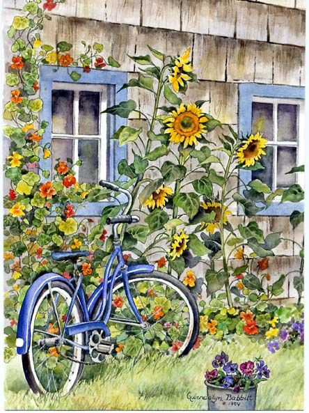 """Sunflower Bicycle Window"" by Gwendolyn Babbitt"