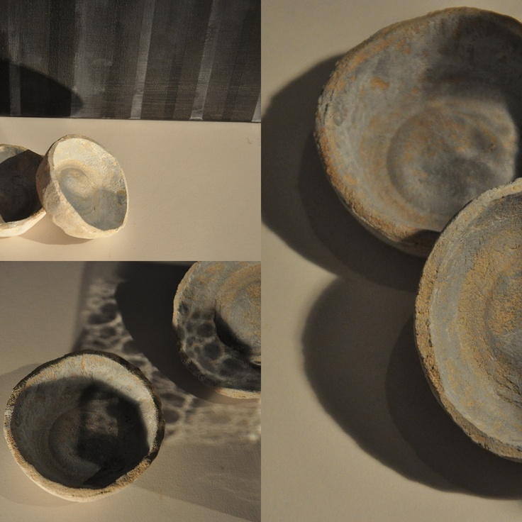 ceramic bowls; fired and hand painted clay by iza hazell