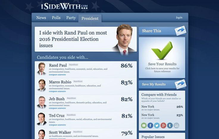 https://www.isidewith.com - Social sharing of results