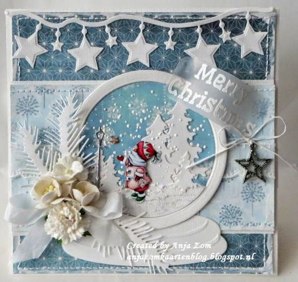Card made by DT member Anja with among others Collectables Snow Globe (COL1362) and Craftables Stars Garland (CR1280) by Marianne Design