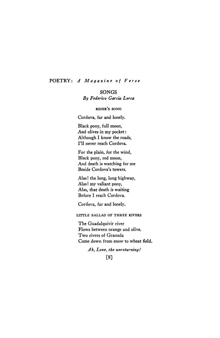 April 1937 : Poetry Magazine. Federico Garcia Lorca