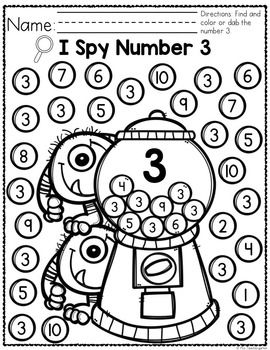 FREEBIE Monsters I Spy Numbers 0-10