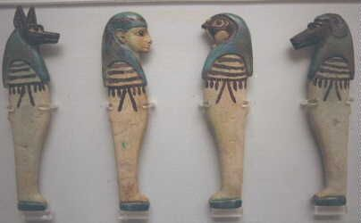 The Four Sons of Horus were traditionally the guardians of the internal organs of the deceased. Each was associated with a particular organ, and also with a different cardinal point on the compass.
