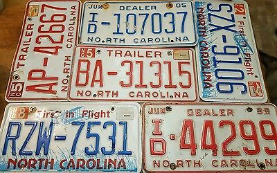 Lot of 6 North Carolina License Plates Dealer Trailer & Passenger