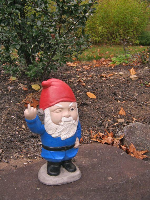 """Gnome Garden: Gnome: """"Gnaughty Gnolan"""", Garden Gnome Cement Statue"""
