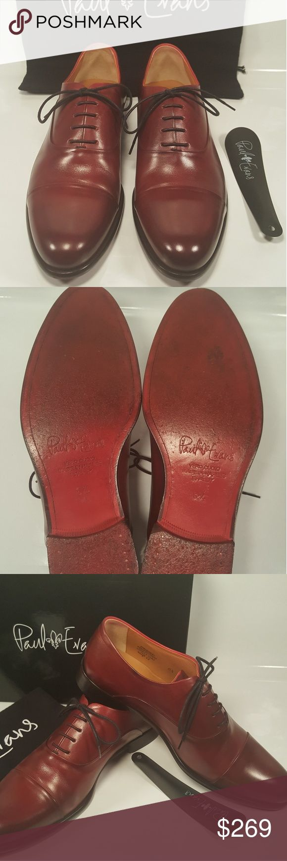 PAUL EVANS OXFORD SHOES MEN'S SIZE 7.5 Pre owned but in very nice condition Paul Evans Cap Toe Oxfords Italian Leather Shoes size 7.5  (Color Oxblood ) include original box, dust bag and shoe horn. Paul Evans Shoes Oxfords & Derbys #oxfordshoesoutfit