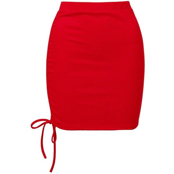 Sans Souci Red ruched mini skirt ($19) ❤ liked on Polyvore featuring skirts, mini skirts, red, high waisted short skirts, gathered skirts, short red skirt, high-waisted skirts and mini skirt