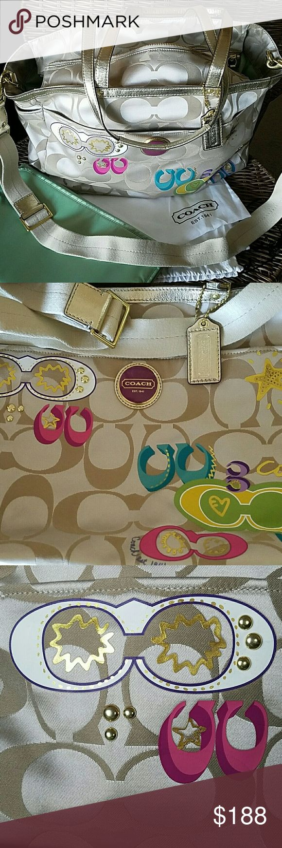 """Authentic Coach Multifunction/Baby Bag, Multicolor BEAUTIFUL! Gently used/Clean.  Multifunction bag... Great as a diaper bag but big enough for a carry-all :) Lots of pockets inside and out!  Carry handles measure 23"""" each Strap measures 40"""" at its full extension  Embellishments intact. Gold hardware; unscratched.  Comes with changing pad, dust bag, and care card.    ((Price Firm))   The perfect Spring/Summer colors  :D Coach Bags Baby Bags"""