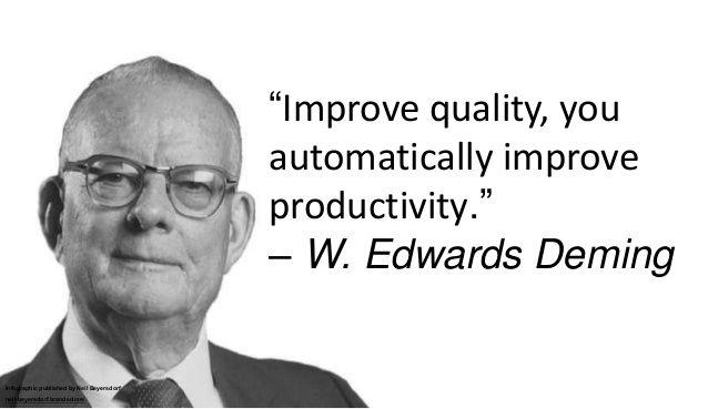 """Improve quality, you automatically improve productivity."" – W. Edwards…"