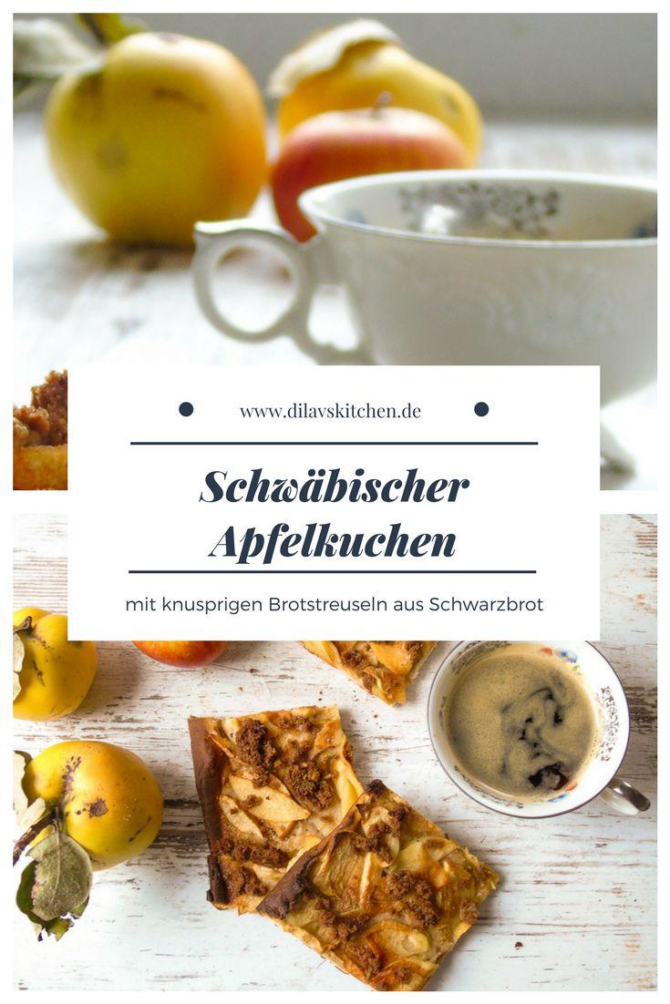 Rezept für schwäbischen Apfelkuchen vom Blech mit knusprigen Brotsteuseln aus Schwarzbrot  #rezept #schwäbisch #recipe #kuchen #blechkuchen #apfelkuchen #apfel #apple #streusel #backen #resteverwertung
