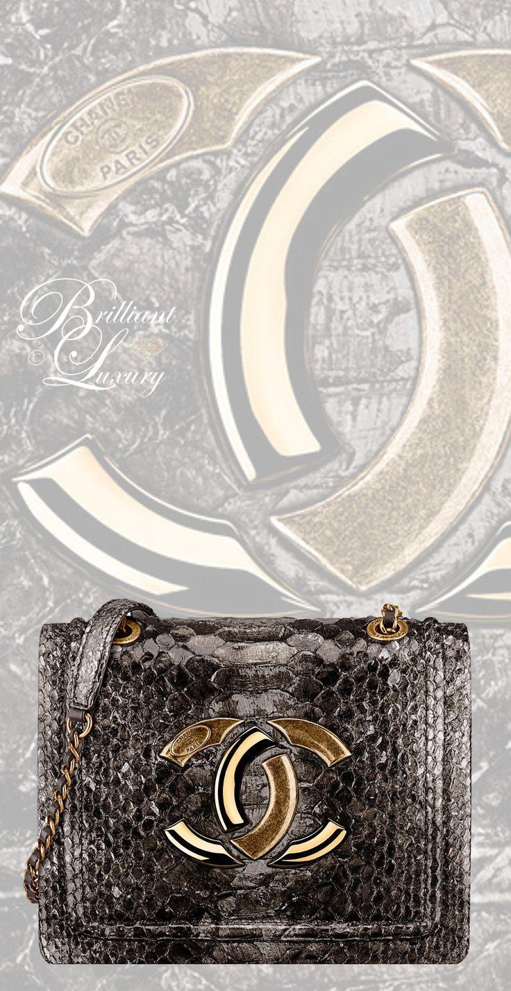 Brilliant Luxury by Emmy DE ♦Chanel Gold Python Flap Bag FW 2016/17