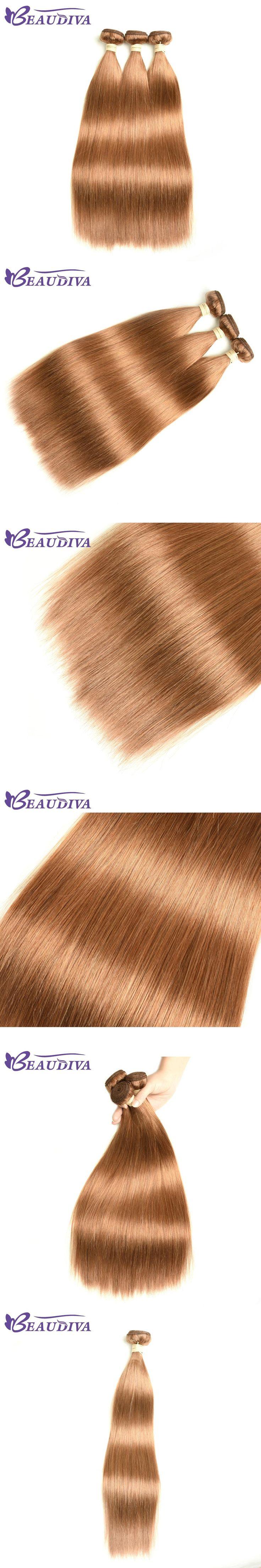 BEAUDIVA Pre-Colored Human Hair Weave 3PCS/LOT Straight #30 Light Brown Brazilian Hair Bundles Brazilian Remy Straight Hair