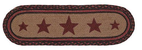 """Bingham Jute Stair Tread Oval Stencil Star 8.5x27"""" by Victorian Heart. $11.20. Extensive line of matching items and accessories available! (Search by Collection name). Product measurements and additional details listed in title and/or Product Description below.. High end quality and workmanship!. See Product Description below for more details!. All cloth items in our collections are 100% preshrunk cotton. All braided items (like rugs, baskets, etc.) are 100% j..."""
