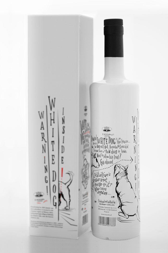 Packaging design for 'White Dog' single malt spirits by Martyna Ząbecka.