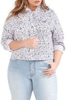 Addition Elle Love & Legend Floral Print Denim Jacket (Plus Size)