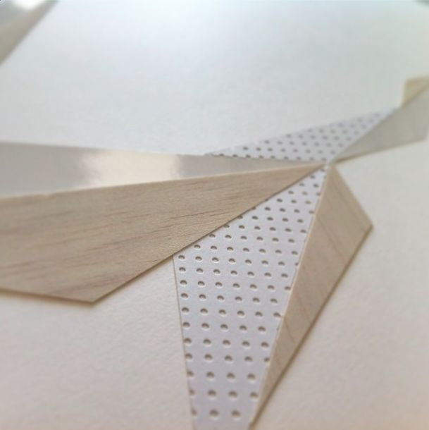 Geometric paper cut formation by Laura Faurschou. Detail
