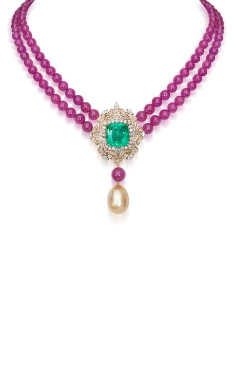 Regal Emerald And Ruby Necklace by Farah Khan Fine Jewelry for Preorder on Moda Operandi