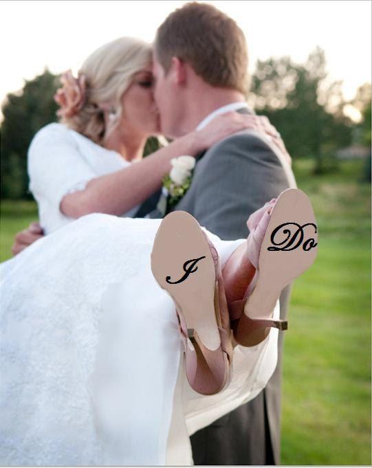 Custom Wedding Shoe Decal Bride or Groom available - wedding Photo Prop, Wedding Decal, Shoe Sticker