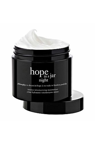 Who says you can't make your beauty products work while you snooze? Philosophy's new Retexturizing Moisturizer boasts QuSome technology, which keeps the active ingredients from breaking down prematurely (before they actually penetrate the skin), effectively limiting the potential for irritation.   Philosophy Hope In A Jar Night Intense Retexturizing Moisturizer, $48, available at Ulta.