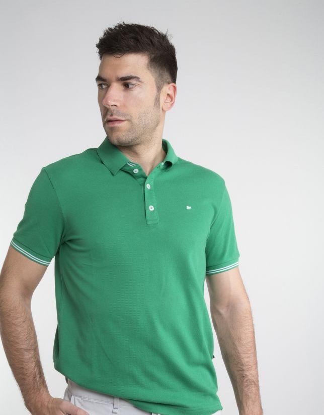 Polo piqué verde contraste. Roberto Verino