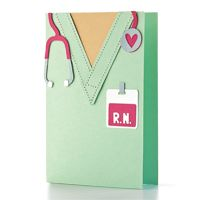 handmade card ... shaped like top of scrubs ... for a nurse, but change the ID and you'd have a doctor ... like the stethoscope with a heart at the sensor end ... luv it!!