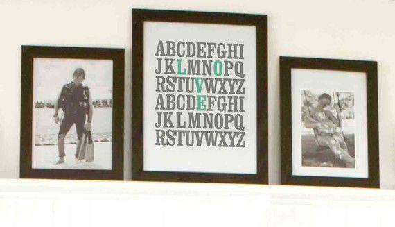 11x14 ABC Print. I love you. Alphabet Love. by 2142stuart on Etsy