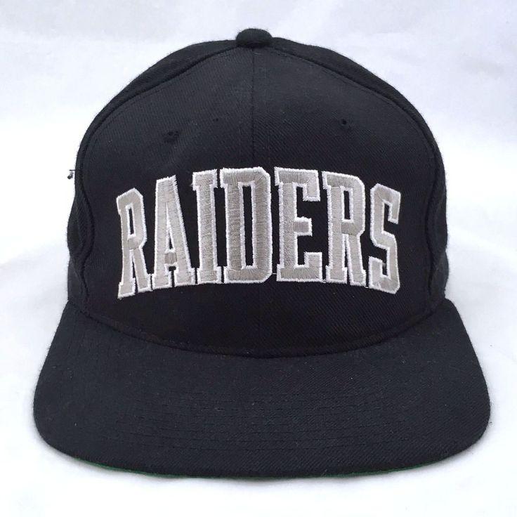 Oakland Raiders NFL Football Snapback Cap Starter 100% Wool Black Baseball Hat #Starter #BaseballCap