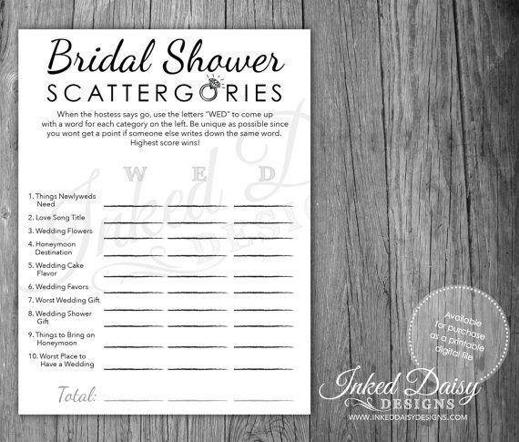 Bling Shower Game, Bridal Shower Scattergories, Scattergories, Wedding Game, Digital Download