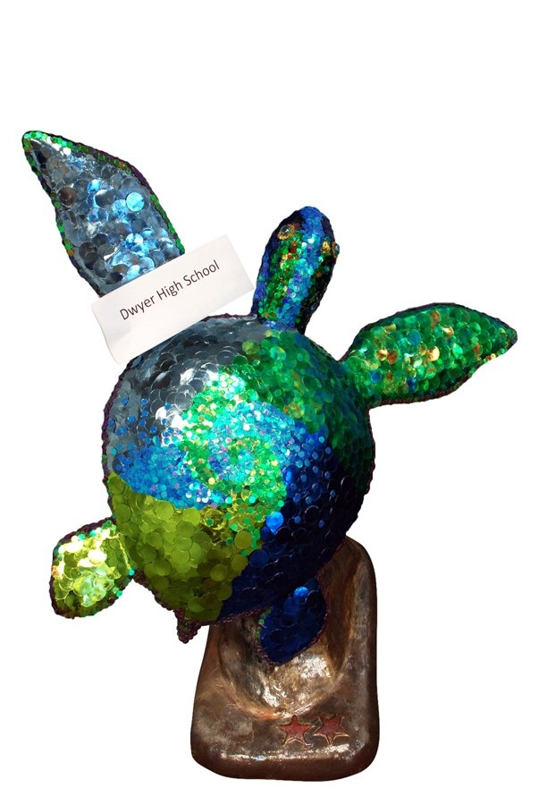 """Glitter"" turtle sculpture decorated by art students from Dwyer High School."
