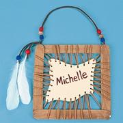 Native American name frame - bastoncini, cartoncini e spago/filo spesso, perline e decorazioni