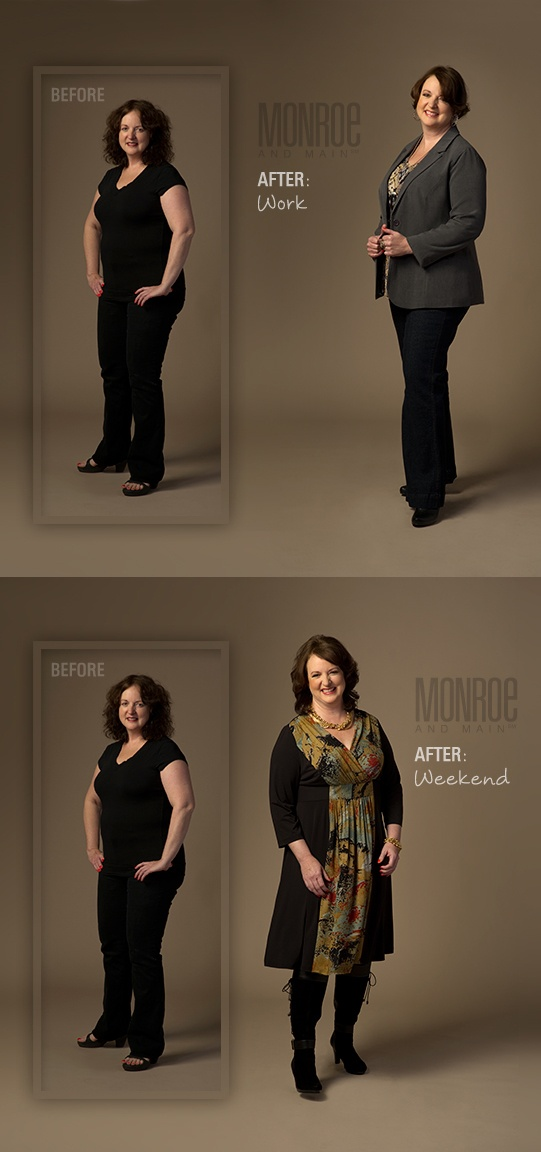 See Before & After for Work & Weekend Attire for the Camouflage Midsection Shape Solution. www.monroeandmain.com