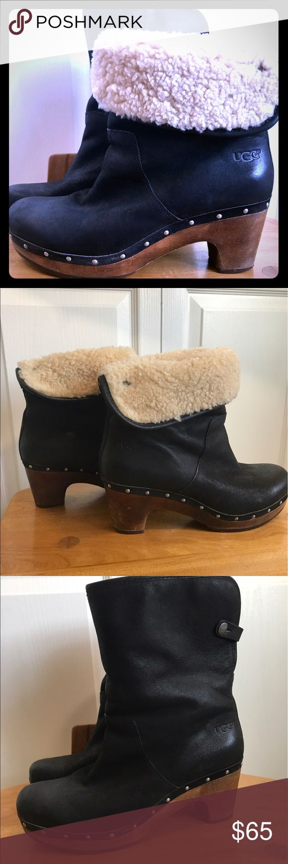 """UGG Lynnea Boots Super awesome UGG Boots. Same UGG comfort but in a dressy version. Can be worn folded down or left up. 2.5"""" heel height. Shaft approximately 8"""". The only wear is on wooden parts and a little on bottom. UGG Shoes Winter & Rain Boots"""