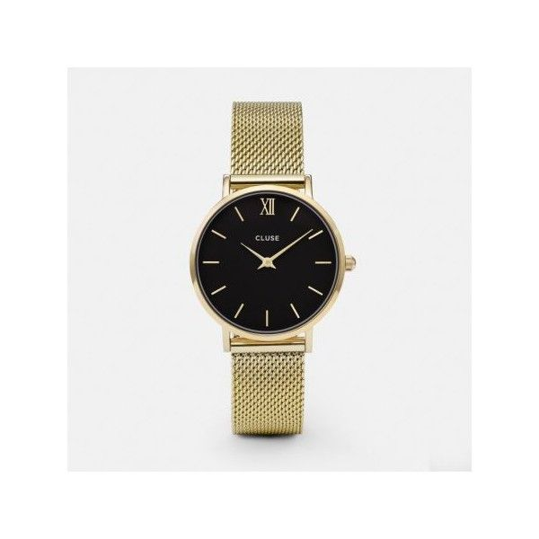 Cluse Minuit Mesh Watch - Gold & Black ($140) ❤ liked on Polyvore featuring jewelry, watches, dial watches, gold strap watches, leather-strap watches, yellow gold jewelry and gold wristwatches