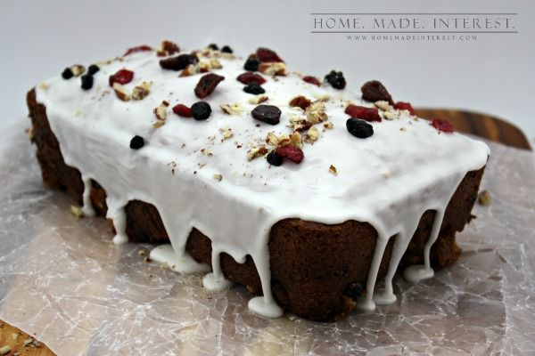 This quick bread recipe is easy to make. Full of nuts, berries and drizzled with icing and white chocolate this recipe is good for breakfast, lunch, dinner or dessert. Make it during the holidays to give as gifts. A recipe both kids and adults will enjoy!