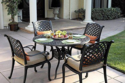 Tourville Outdoor Living Nassau Cast Aluminum 5-Piece Dining Set with Seat Cushions and 42-Inch Round Dining Table, Antique Bronze Finish