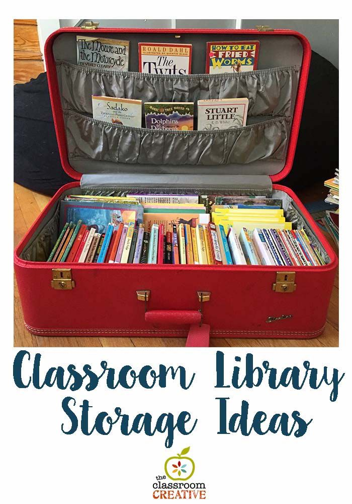 This photo went wild on instagram! Store chapter books in vintage suitcase- it adds character to your classroom and is a breeze to move about!  #backtoschool #classroomorganization