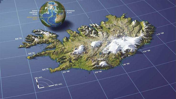 Map of Iceland in relief.