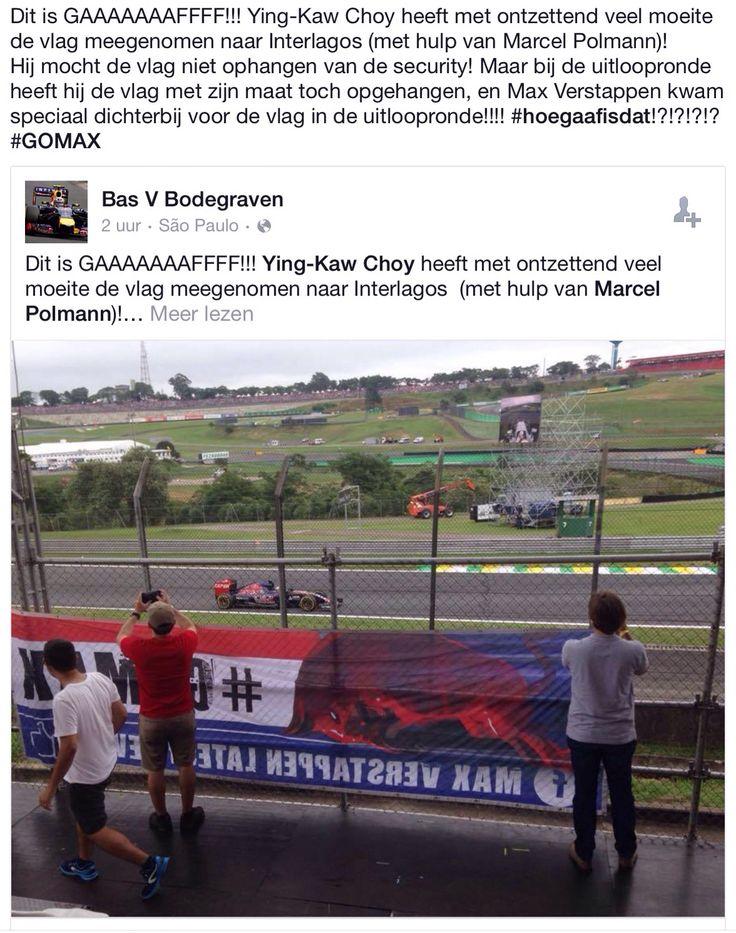 Max komt de Go Max vlag van dichtbij bewonderen in Brazilië Interlagos